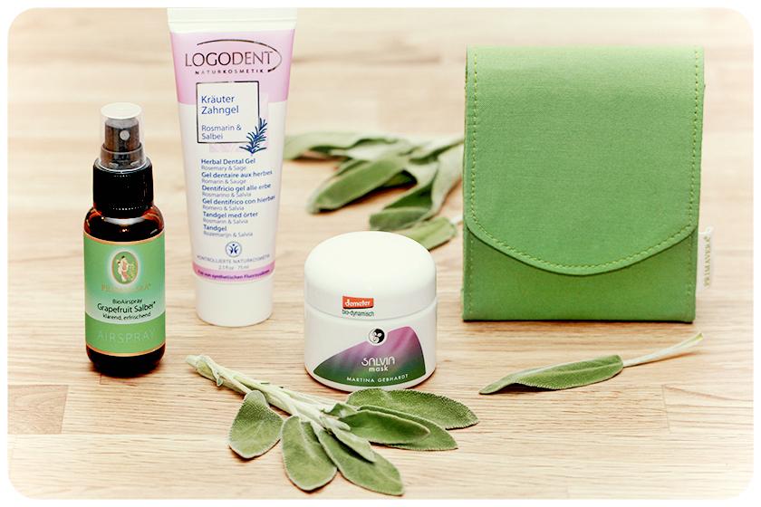 Naturkosmetik-Produkte mit Salbei