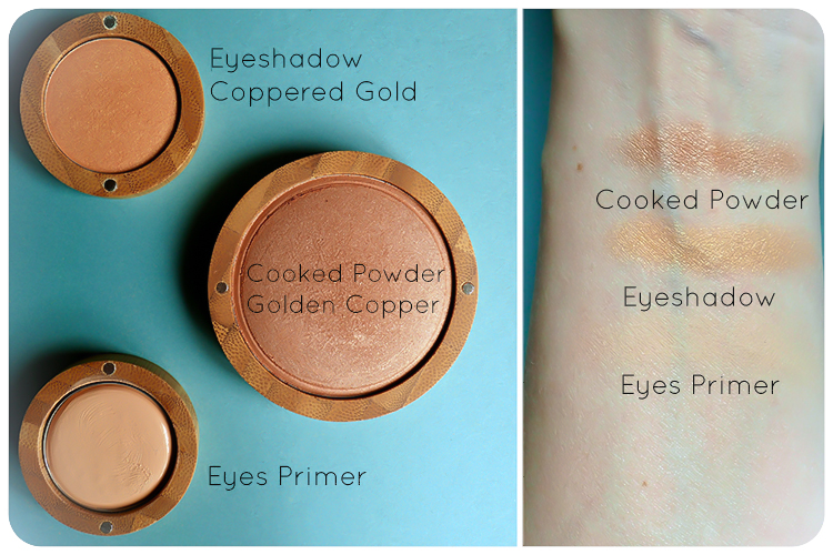 zao pearly eyeshadow coppered gold cooked powder golden copper eyes primer